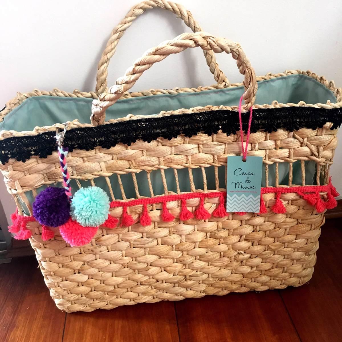 Bolsa De Palha Para Casamento : Bolsa palha pompons personalizada iniciais artesanal praia