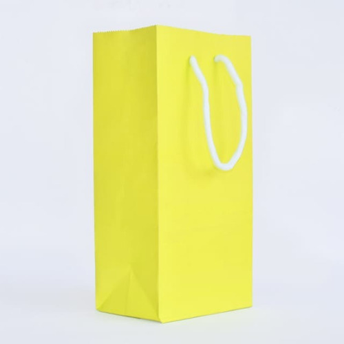 bolsa papel color amarillo 12,5+8x25 cordon redondo paq 250