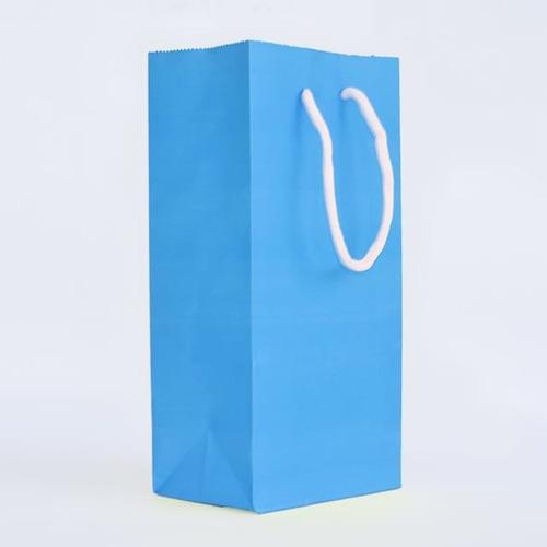 bolsa papel color azul 12,5+8x25 cordon redondo paq 250