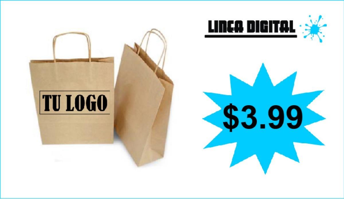 b043f3cde Bolsa Papel Kraft Impresas Personalizadas Publicidad !! - $ 3.99 en ...