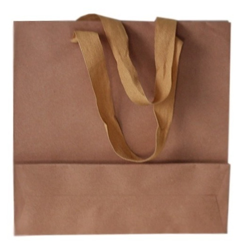 bolsa papel madera kraft 30x9x30 regalo con manija x50