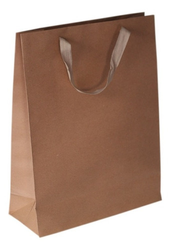 bolsa papel madera kraft 31x12x40 regalo con manija x50