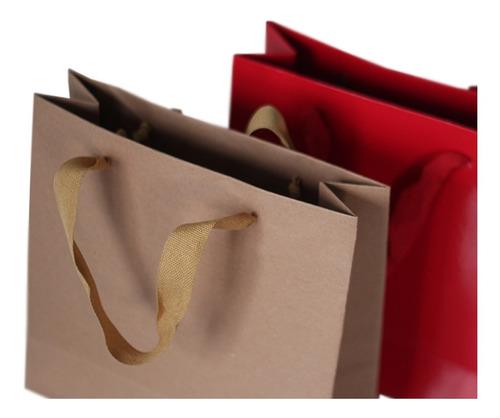 bolsa papel madera kraft 31x12x40 regalo con manija x50 c