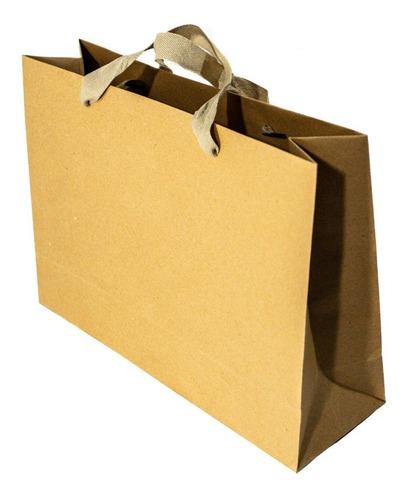 bolsa papel madera kraft 32x10x23 regalo con manija x50 c