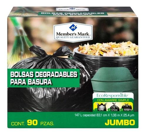 bolsa para basura jumbo biodegradable 90 pzas manten limpio