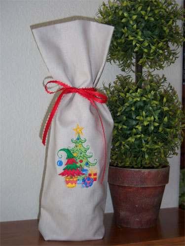 bolsa para botella de vino navideña