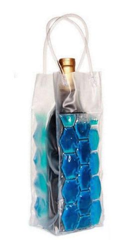 bolsa  para mantener frias las botellas vino champagne con gel en color azul