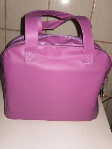 bolsa porta caderno lilas + cad 200 fls + material escolar