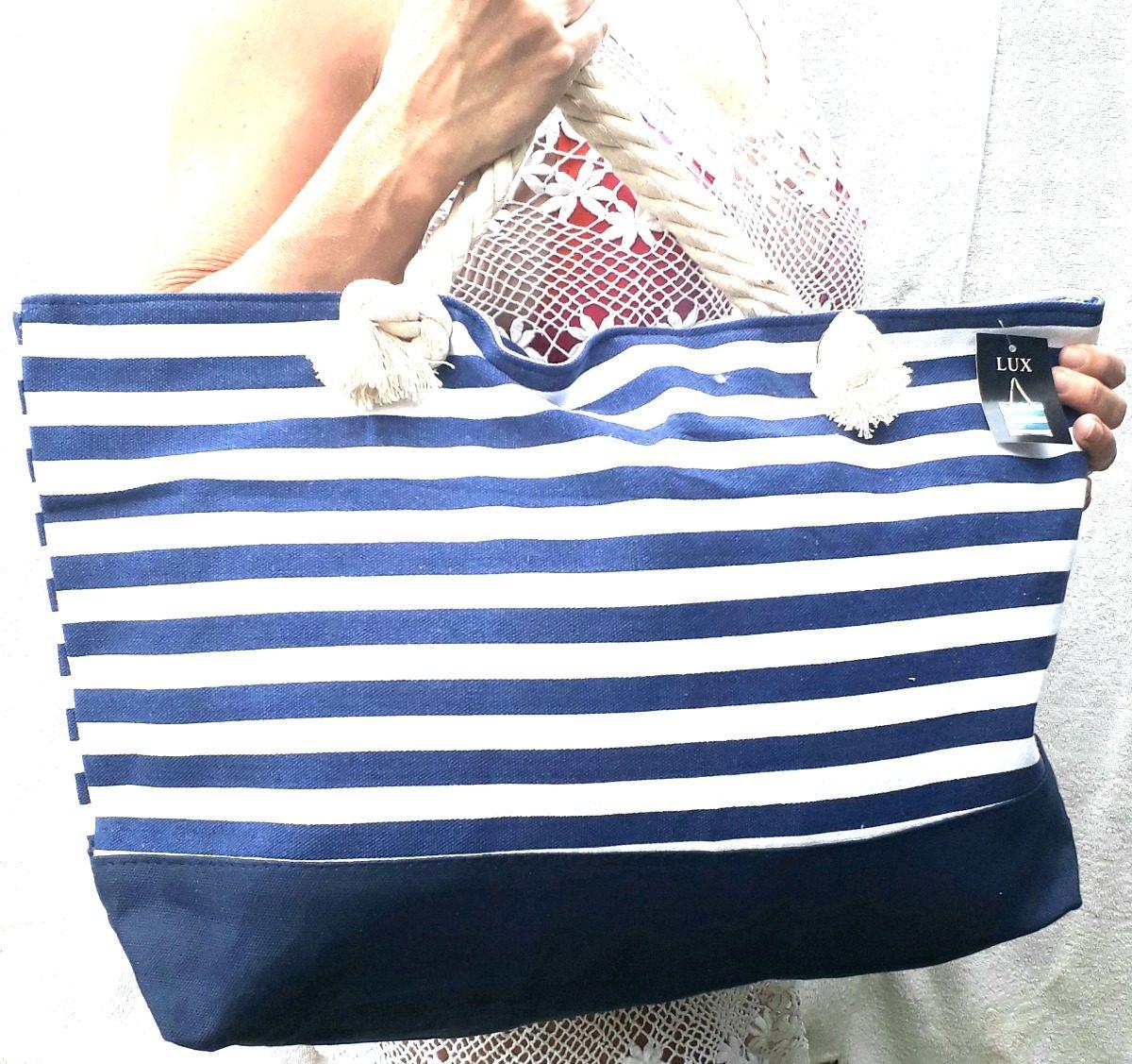 cc7c89828 bolsa praia grande listrada azul branco alça de ombro corda. Carregando  zoom.