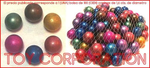 bolsa red 100 cien canicas perla de 1,6 cts diámetro bolitas