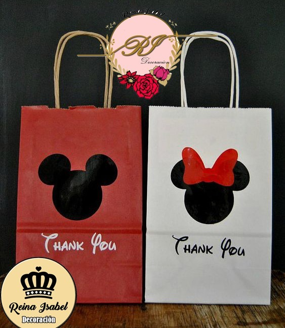 5d2542c90 Bolsa Regalo Mickey Minnie Disney Bautismo Candy Bar - $ 28,60 en ...