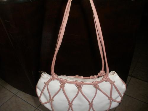 bolsa  retro branca e rosa