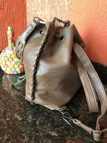bolsa saco caqui mochila dois em 1