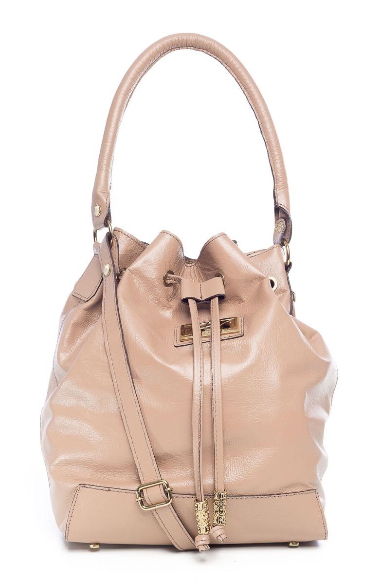 3fcec8f9fcbd2 bolsa saco de couro legítimo andrea vinci cor nude. Carregando zoom.