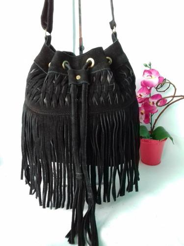 bolsa saco de franja tiracolo transversal camurça feminina