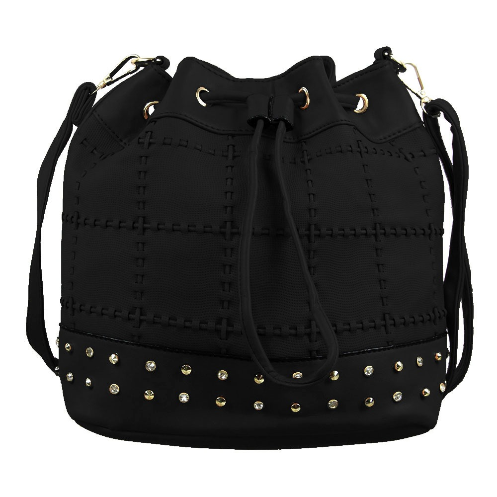 ad6057642 bolsa saco feminina alto relevo cravejada spikes e strass. Carregando zoom.
