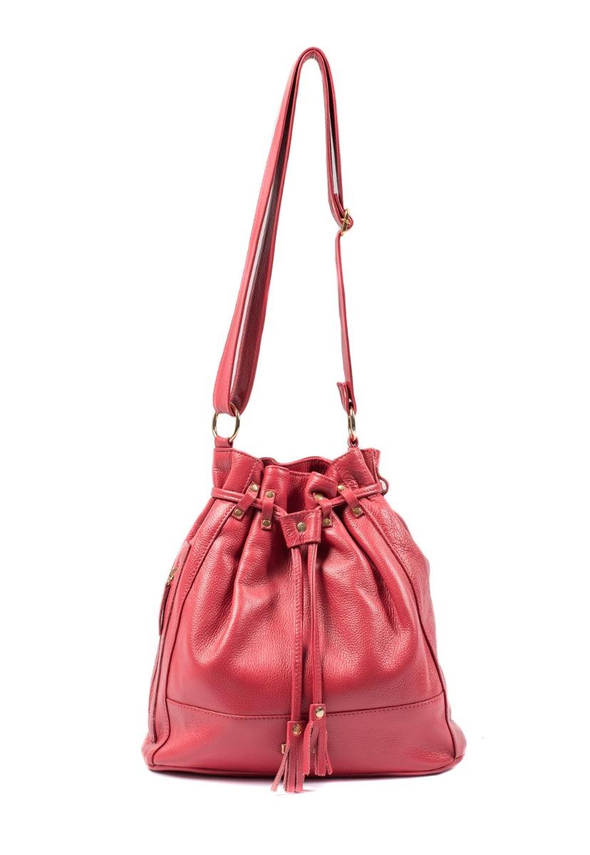 1d67f0ac2 bolsa saco feminina brilho da pele couro legítimo vermelha. Carregando zoom.