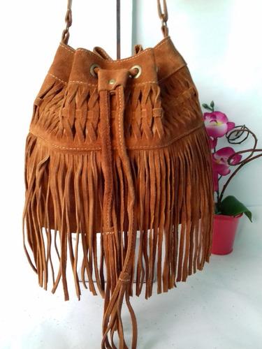 bolsa saco feminina franja couro camurça transversal oferta