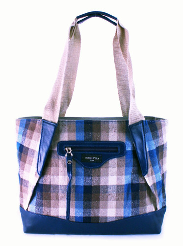 bolsa sacola de couro e lona ecológica azul