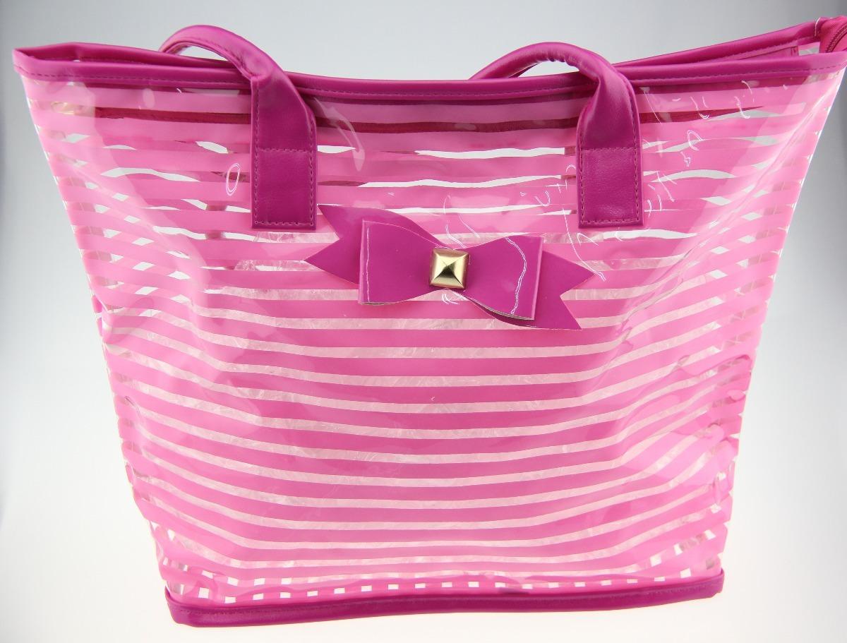 01faf124d bolsa sacola de praia listrada transparente moda feminina. Carregando zoom.