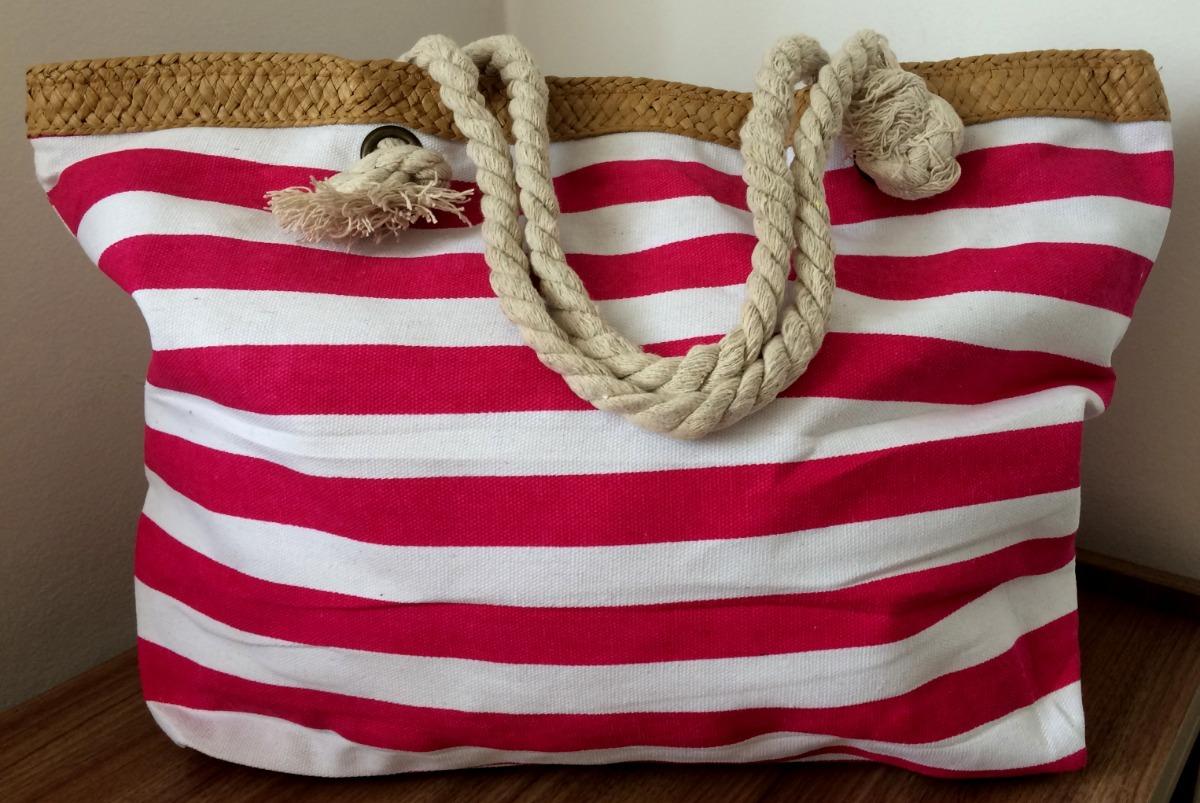 f7205400e bolsa sacola de praia lona alça de corda listrada rosa. Carregando zoom.
