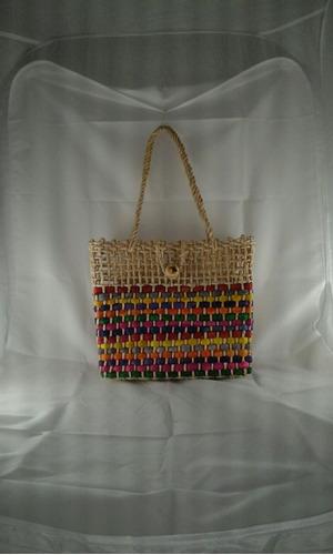 bolsa sacola palha milho feira praia colorida mista