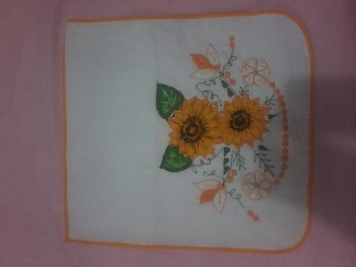 bolsa sacola porta pão de algodão branco bordado  amarela