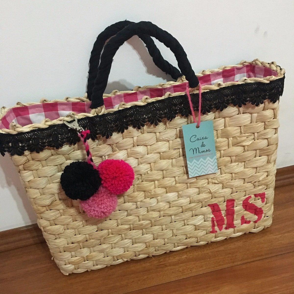 6ac31ab4e bolsa sacola praia palha personalizada pompom iniciais maya. Carregando  zoom.