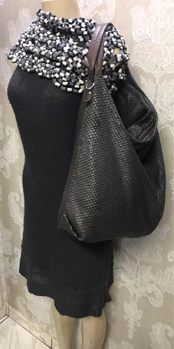 bolsa sacola via uno,couro,espaçosa,linda