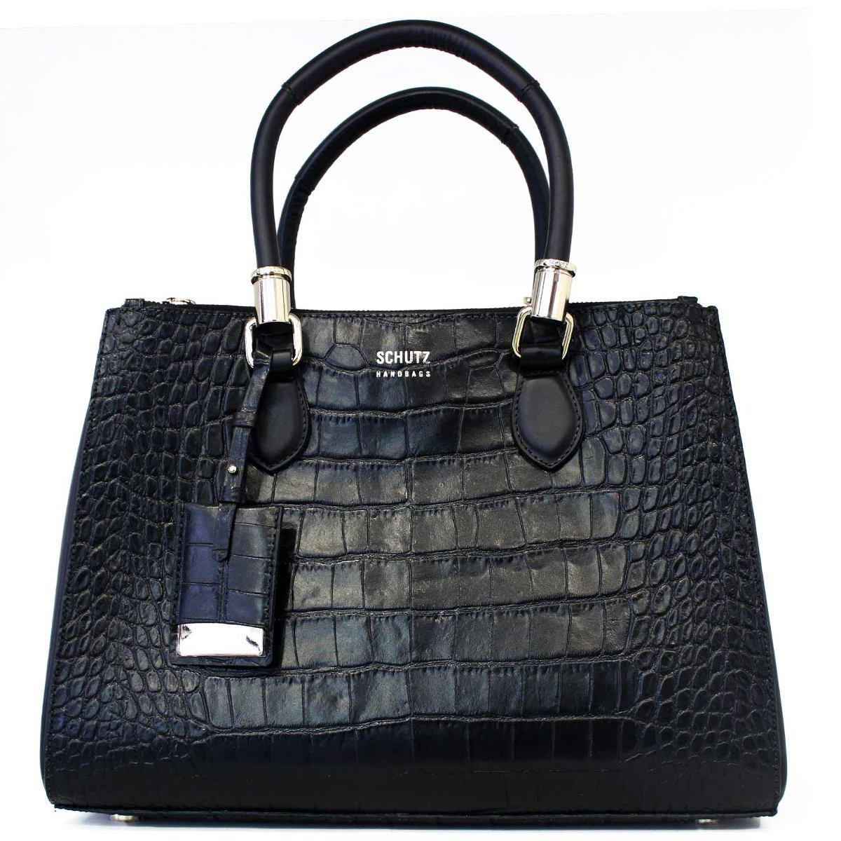 66f572fd1 Bolsa Schutz Lorena Grande Croco Preto-preto - R$ 990,00 em Mercado ...