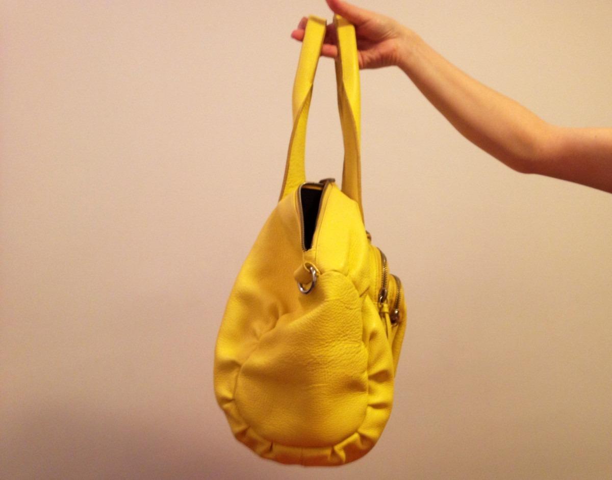 Bolsa De Couro Usada : Bolsa shoestock couro amarelo original r em