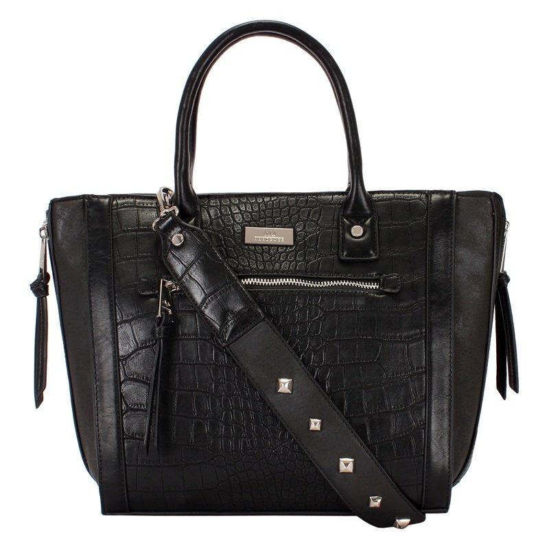 32b9c8e7e bolsa shopping bag grande preta em croco com metais wj. Carregando zoom.