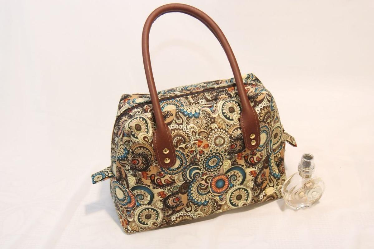 4f72892b3 Bolsa Grande Tecido - Alça De Couro - Feita À Mão - R$ 230,00 em Mercado  Livre