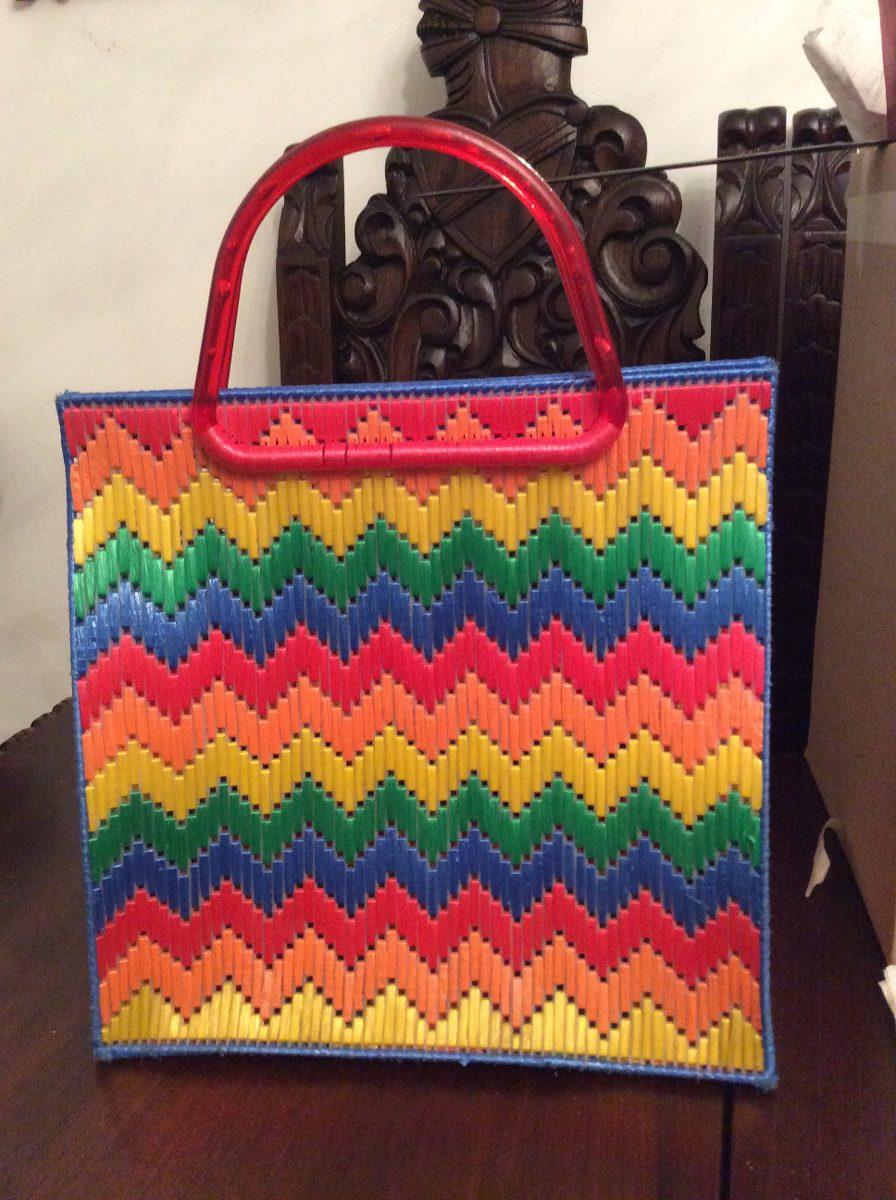 Bolsa tejida multicolor rafia hipster hecha a mano 190 - Manualidades con rafia ...