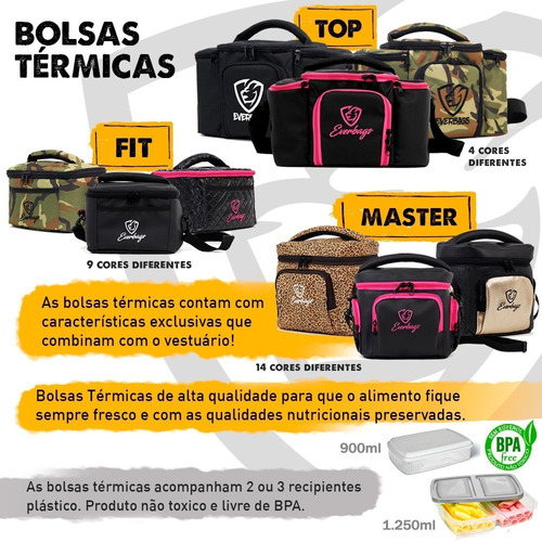 bolsa térmica fitness marmiteira preta lancheira academia