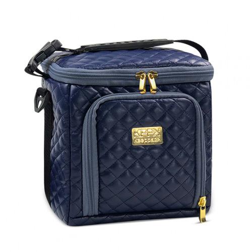 bolsa térmica keeppack mid matelassê azul com kit - kp00018