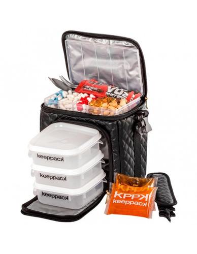 bolsa térmica keeppack mid matelassê black com kit  kp00017