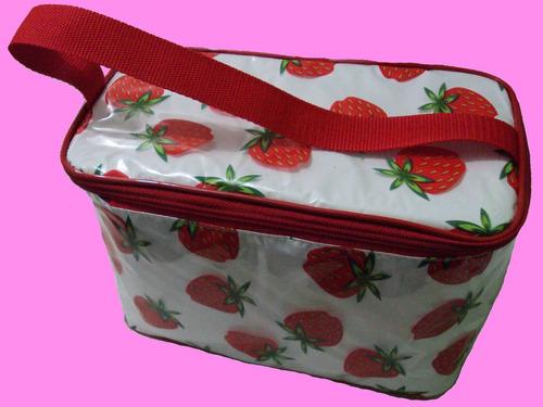 bolsa térmica morangos  doces e alimentos + 2 sache gel