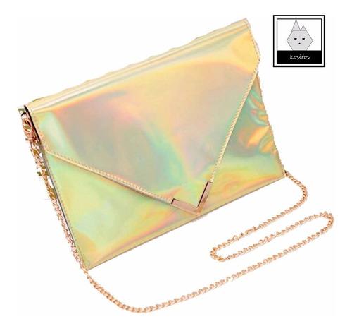 bolsa tipo sobre clutch holograma de moda