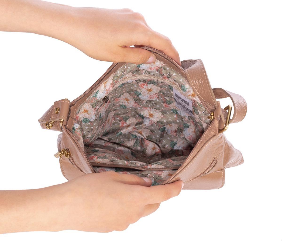 8e91ffe1a Bolsa Tiracolo De Couro Legítimo Karen Nude - R$ 275,00 em Mercado Livre