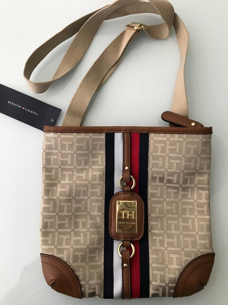16b5181df bolsa tommy hilfiger original tecido couro bege marrom. Carregando zoom.