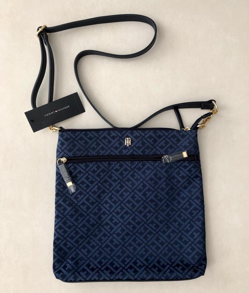 e4277c4fd bolsa tommy hilfiger th azul escuro / claro ziper importada. Carregando zoom .