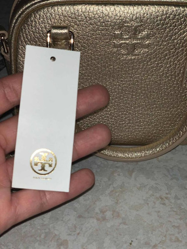 bolsa tory burch 100% original dorada piel croosbody