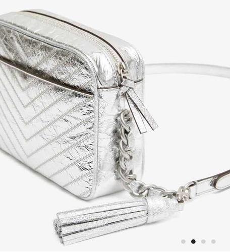 bolsa tory burch 100% original piel fleming plata metallic