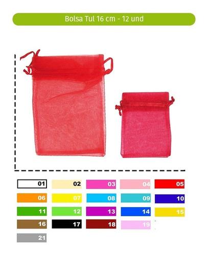 bolsa tul pequeña paq 12 und 8cm x 10 cm variedad de colores