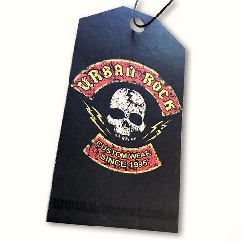 bolsa urban rock com detalhes em caveiras logo perigo
