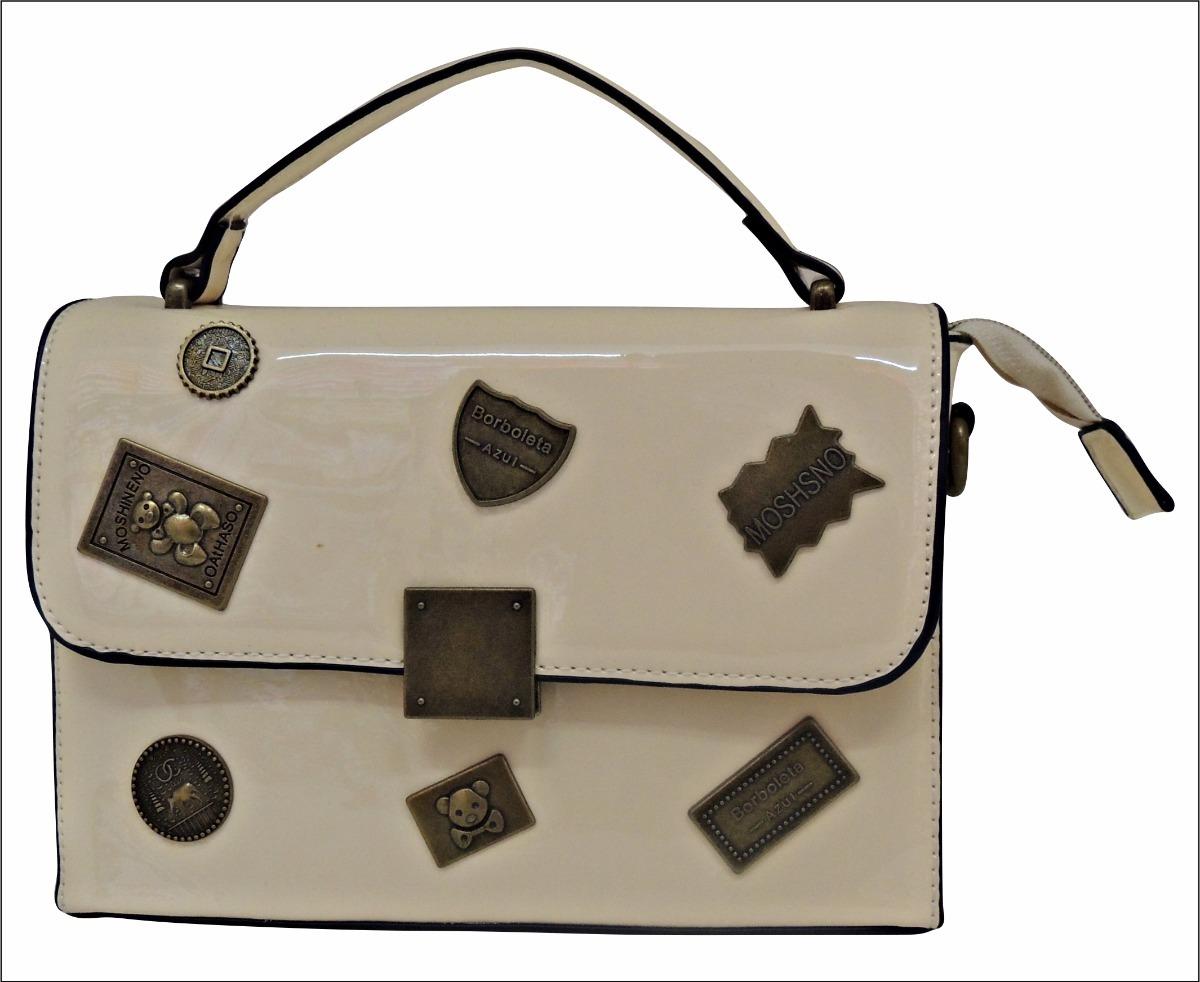 b5ff61c5a bolsa verniz baú estilo vintage aplique metal bege nude off. Carregando  zoom.