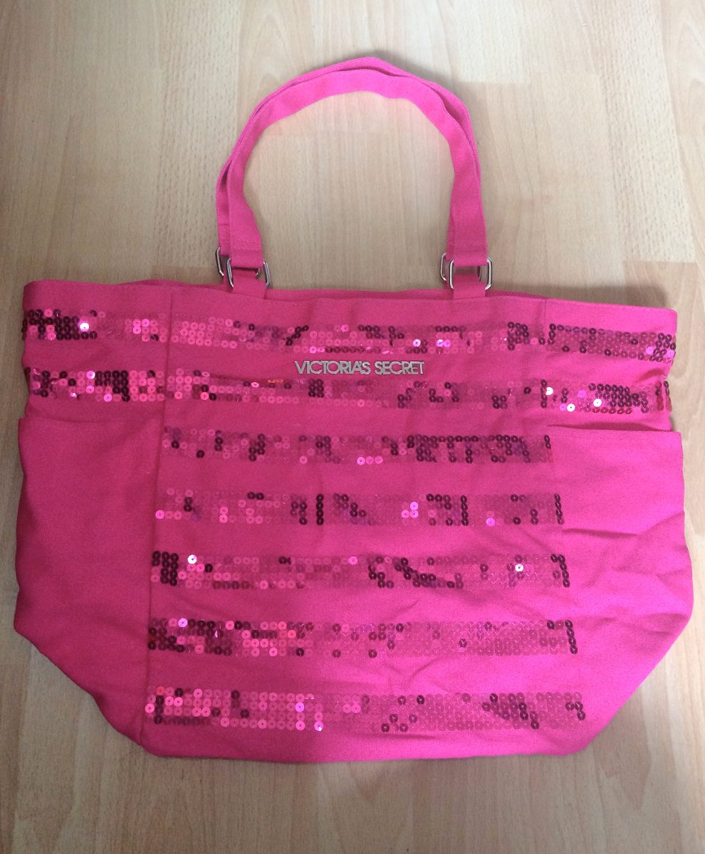 Bolsa Dourada Victoria Secrets : Bolsa victoria s secret vs pink striped sequin tote grande