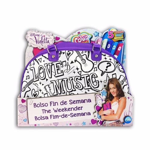 bolsa violetta disney com caneta de colorir*