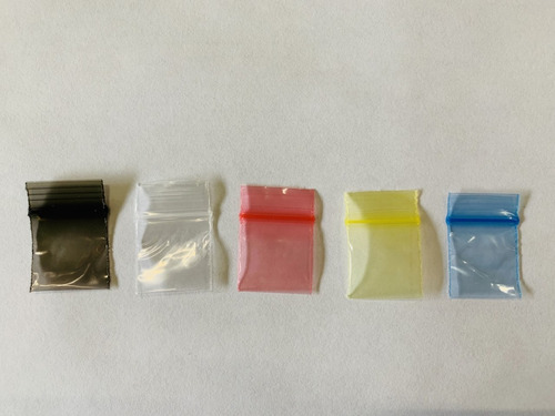 bolsa ziploc 1x1 varios colores 5 cajitas c/1000 piezas c/u
